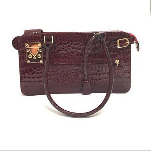 Melie Bianco Red Vegan Leather Croc Embossed Bag